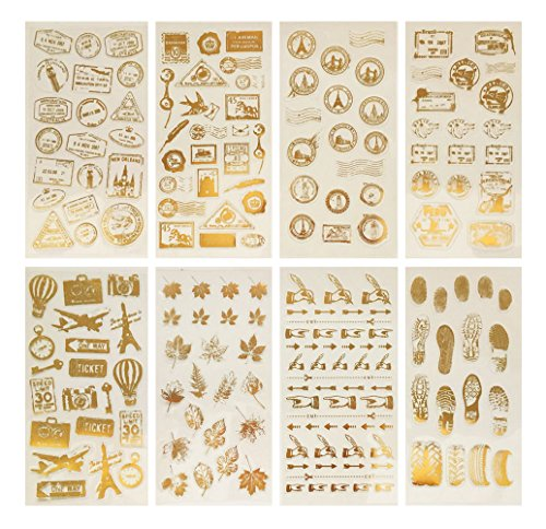 (Hyamass 8 Sheets Glitter Gold Vintage Theme Self Adhesive Travel Diary Journaling Postmark Gift Decorative Stickers)