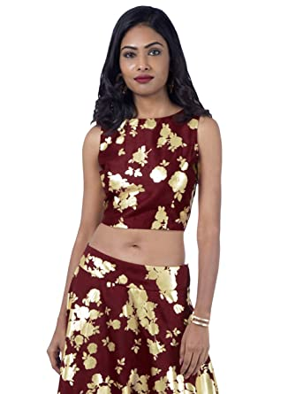 044c520d47121e Indya Cold Shoulder Silk Crop Tops for Women Ethnic Kurta Kurti ...
