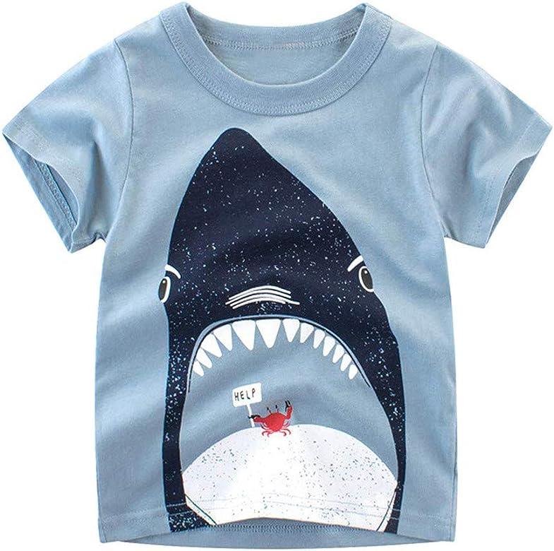 FeiliandaJJ Kids Toddler Children Kids Baby Boys Girls Long Sleeved Cartoon Dinosaur Print Tops T Shirts Tee Blouse for 1-6 Years 5-6 Years, Dark Blue