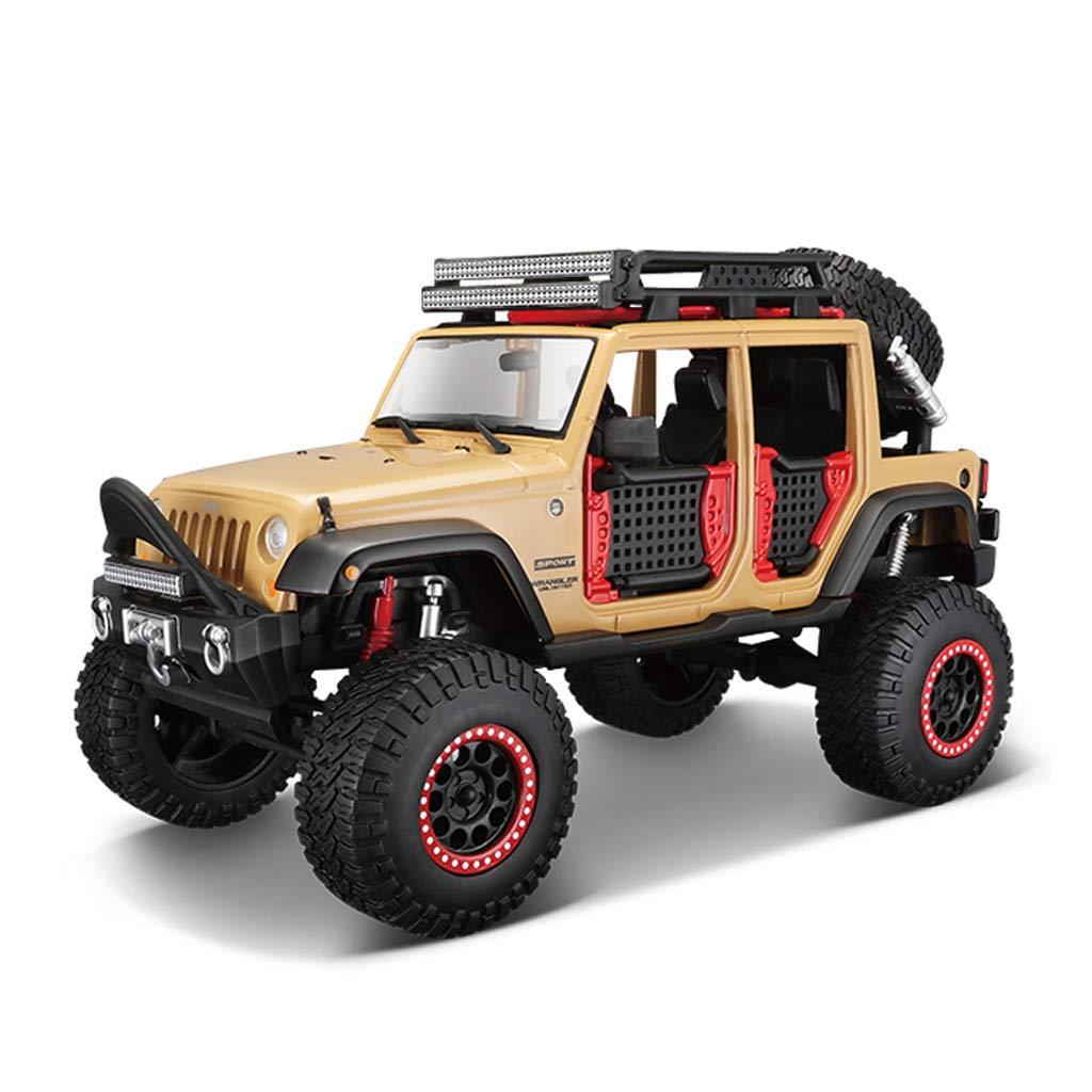 KTYXGKL 車のモデルジープラングラーオフロード車1:24シミュレーション合金ダイカスト玩具モデルカーコレクションジュエリー Model car (色 : アプリコット) B07QPCPYHZ アプリコット