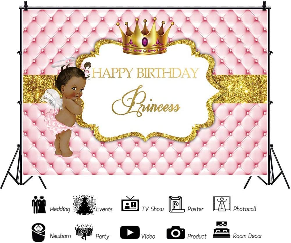 10x8ft Backdrop Happy Birthday Backdrop Royal Golden Crown Retro Royal Headboard Texture Golden Banner Photography Background Birthday Party for Little Princess Angel Portrait