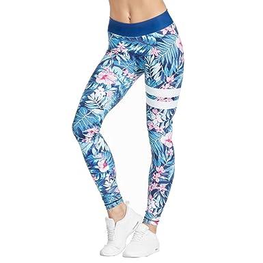 2e973c11a07a3 Gwell Femme Leggings de Sport Yoga Pantalon Collant pour Fitness Jogging  Pilates Gymnase Arbres Fleurs Rayé