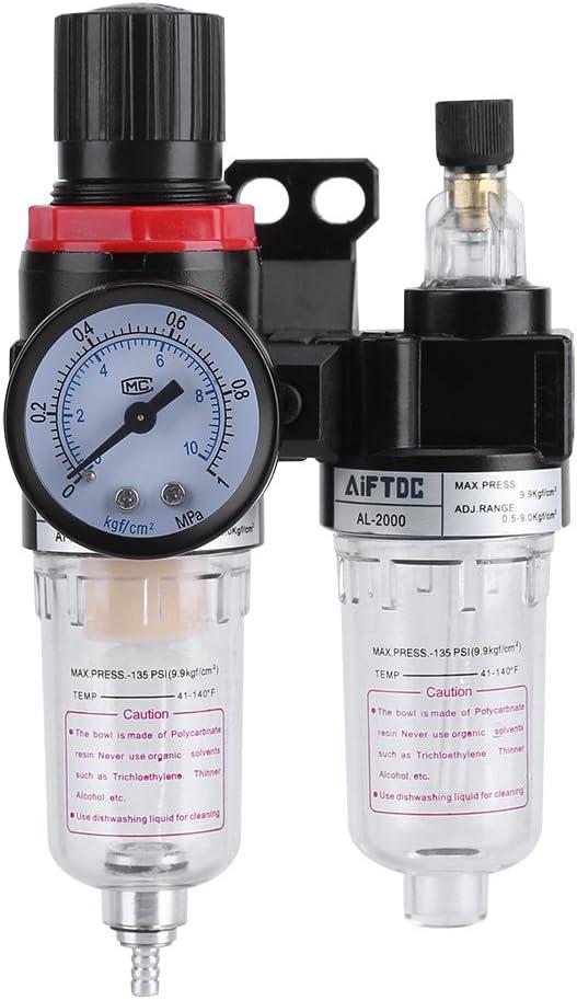 Zerodis Filtro de Aire 1/4 Pulgada Filtro De Aire Regulador del Compresor de aire, Separador del Separador de Aceite de Agua