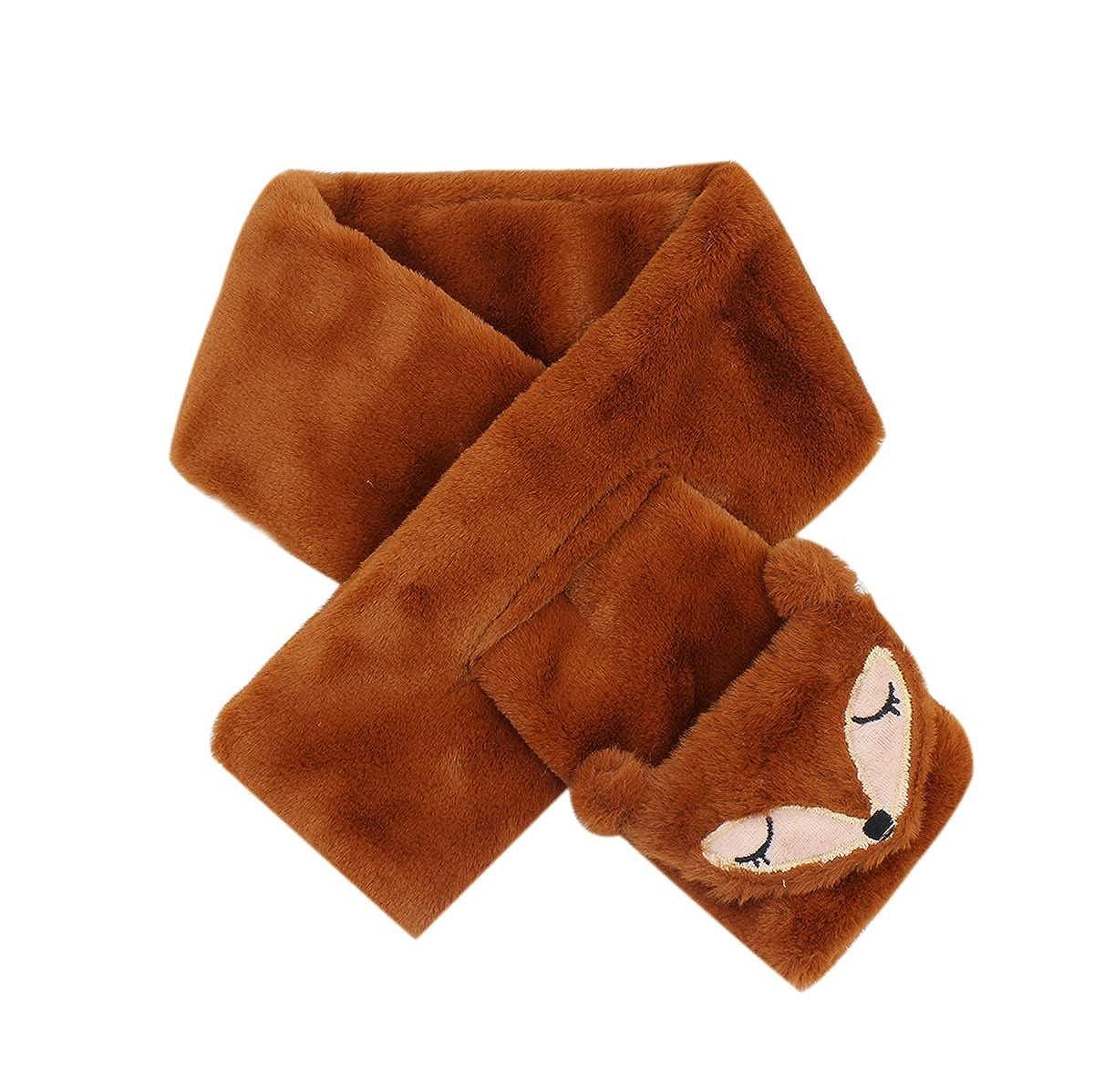 Baby Kids Coral Fleece Winter Scarf Cross Tie Collar Neck Wrap for Boys Girls