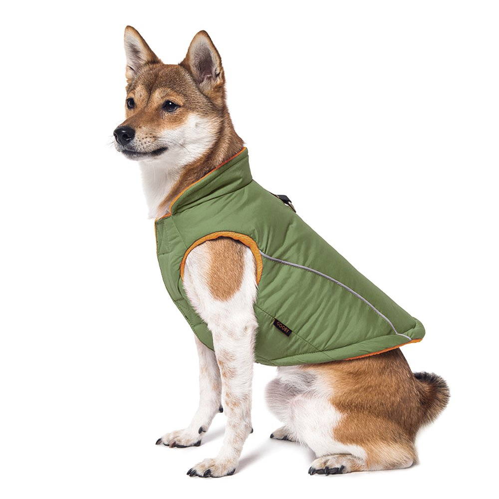 Gooby Cold Weather Fleece Lined Sports Dog Vest with Reflective Lining, Large, Green