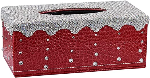 Amazon Com Aumo Mate Pu Leather Shinny Tissue Box Cover
