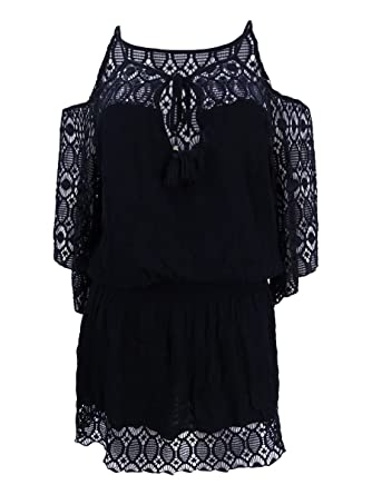 602f42e56d Becca by Rebecca Virtue Women's Cold Shoulder Smocked and Drawcord Waist  Tunic Swim Cover Up Black