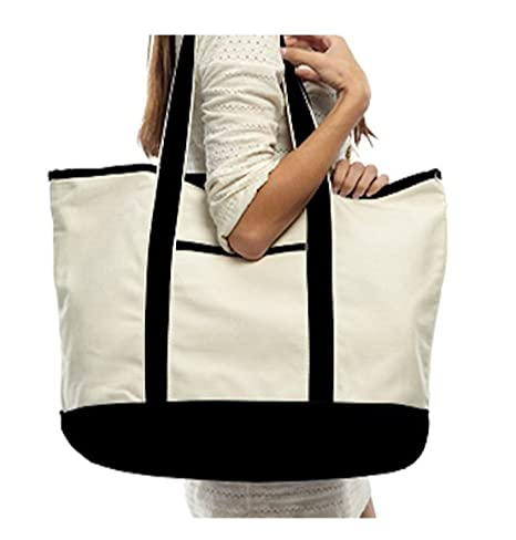 1b491affd Image Unavailable. Image not available for. Color: Canvas Extra Large Deluxe  Tote Bag w/Front Pocket ...