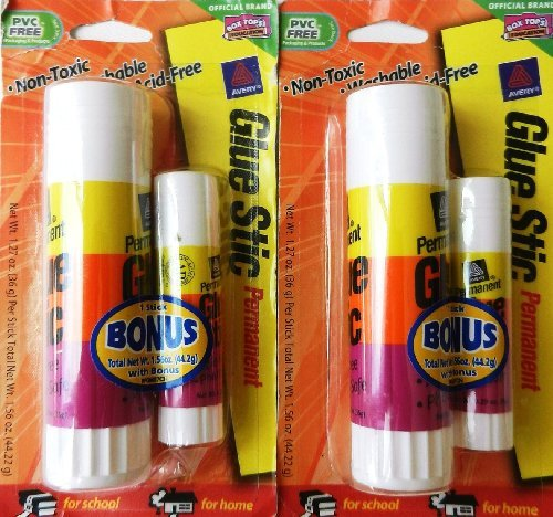 Glue Stic Permanent, 1.27 Oz. (plus bonus stick, .29 oz.) (2 Package Value Bundle)