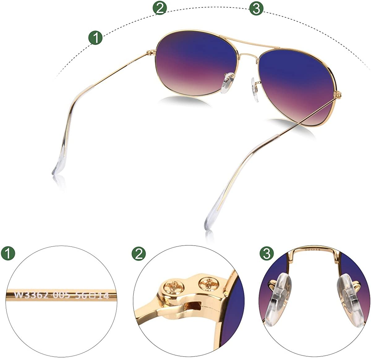 Wenlenie Lunettes de soleil aviateur petit visage nuances pour femmes cadre en or avec lentille de lunettes