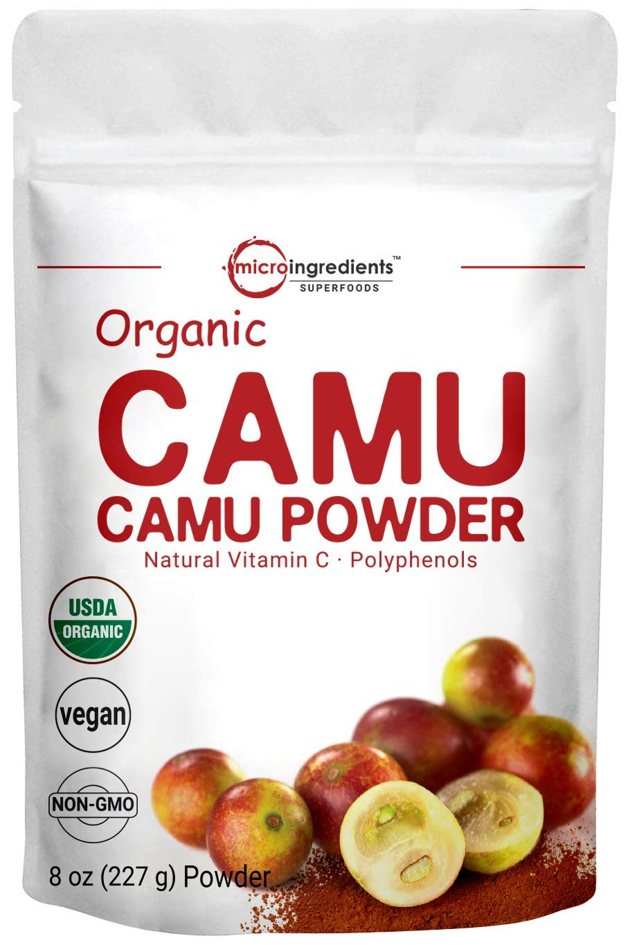 Peruvian Camu Camu Powder Organic, (Natural Vitamin C Supplement Powder), 8 Ounce, Strongly Supports Energy and Immune System, No GMOs and Vegan Friendly