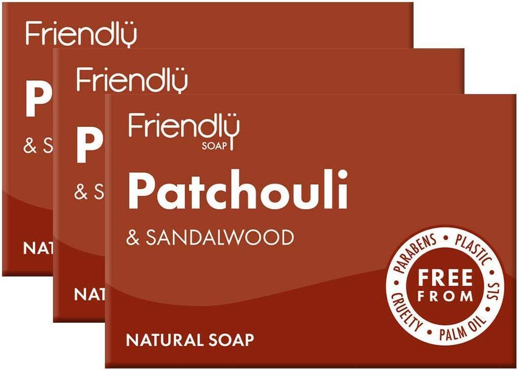 Friendly Soap Natural Patchouli & Sandalwood Soap  3 x 95g