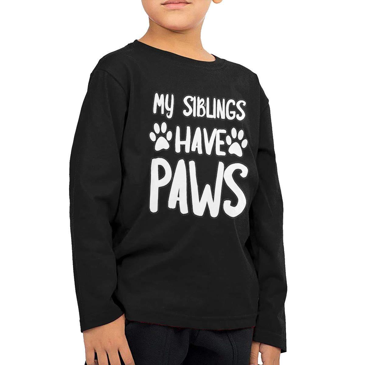 My Siblings Have Paws Kids T-Shirt Long Sleeve Boys Girls T-Shirt