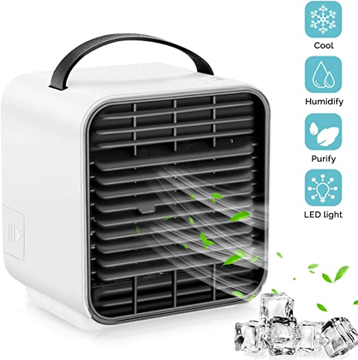 White Personal Space Air Cooler Humidifier 3 Speeds Portable Air Conditioner Cooler Fan Purifier 3 in 1 Evaporative Cooler USB Rechargeable Mini Cooling Desktop Fan with LED Light