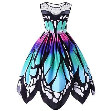 mitlfuny Mujer Mariposa Impresión Sin Mangas Fiesta Vestido Vintage Swing vestido de encaje hne brazo vestido