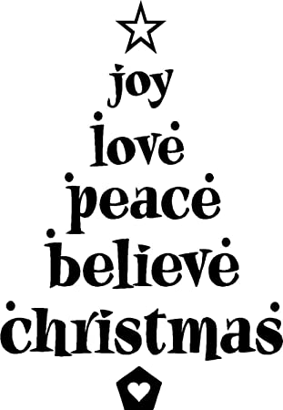 Joy Love Peace Believe Christmas Cute Vinyl Wall Quotes Arts Sayings Decals