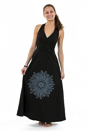 d5a0f9b18b2 FANTAZIA Robe Longue Dos Nu Mandala Print Noir GR -  Amazon.fr  Vêtements  et accessoires