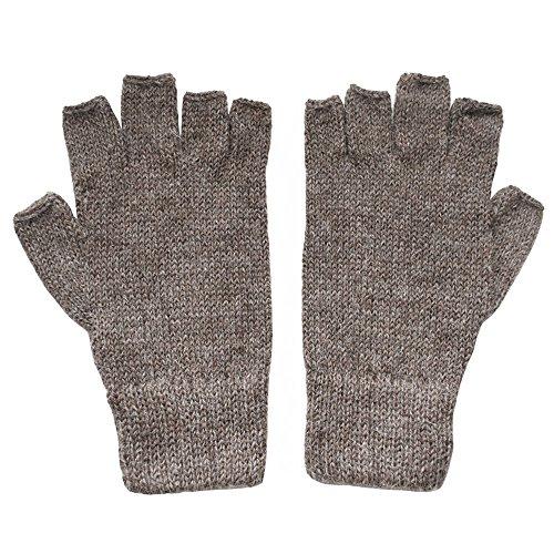 (The Alpaca Collection, 100% Alpaca Wool Fingerless Gloves Lt Brown Small)