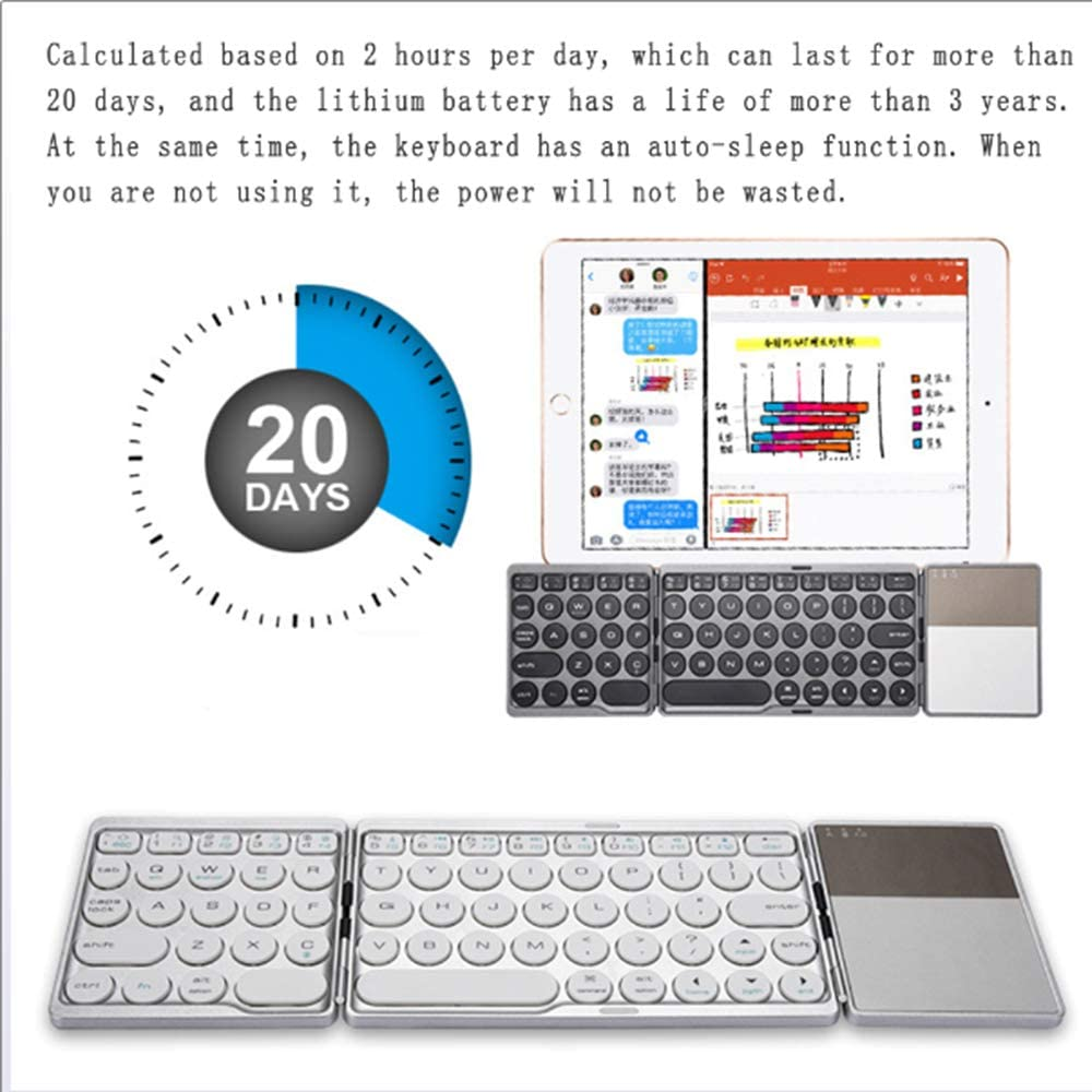Suitable for Android Foldable Wireless Bluetooth Keyboard with Rechargeable Battery Windows Systems,White EMGOD Portable Ultra-Thin Keyboard iOS