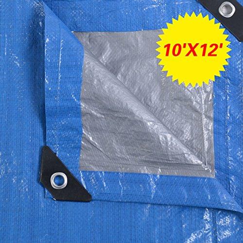 (10' x 12' Tarp Canopy Reinforced Tarpaulin Heavy Duty w/ Grommets Blue New)