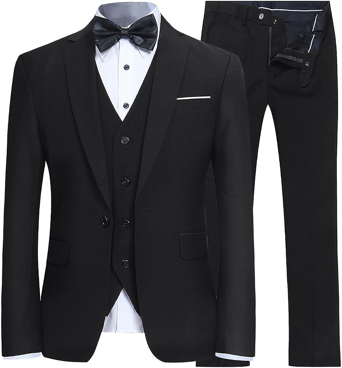 WEEN CHARM Mens Floral 3-Pieces Suit Double Breasted Three Button Dress Suit Blazer Jacket Pants Tux Vest Prom Tuxedo