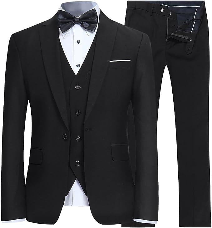 YFFUSHI Men's Slim Fit 3 Piece Suit