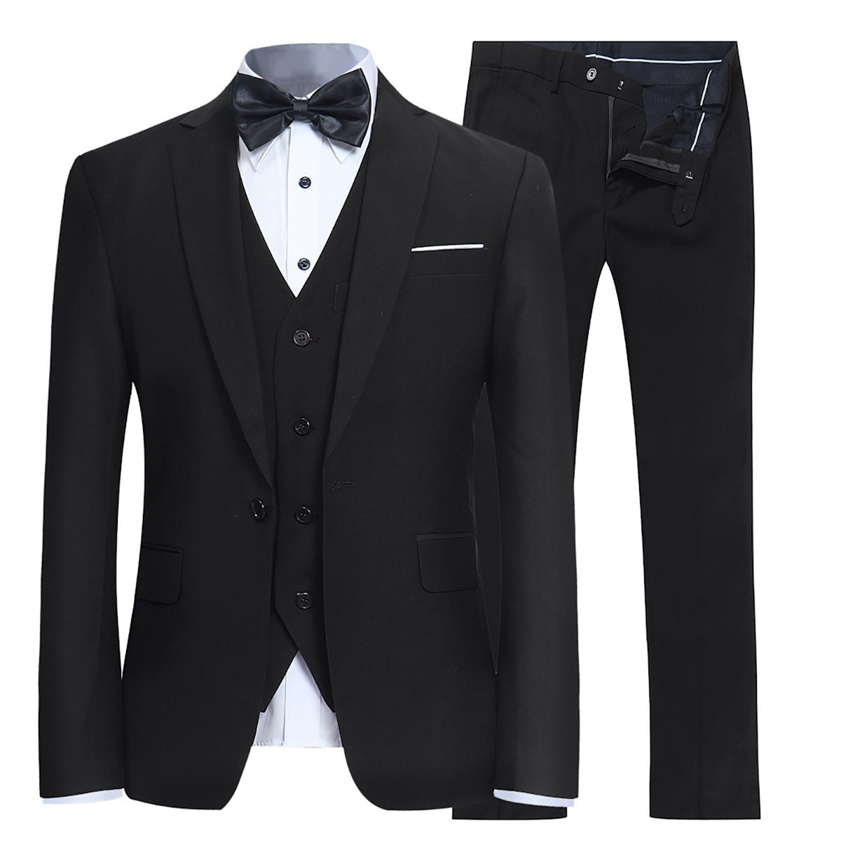 YFFUSHI Men's Slim Fit 3 Piece Suit One Button Blazer Tux Vest & Trousers, Black, Medium