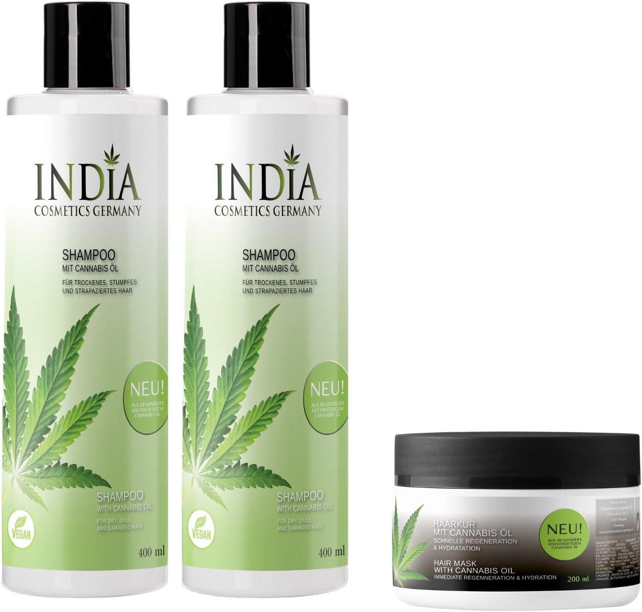 ¡Champú en paquete doble con aceite de cannabis de calidad superior con 400ml de tamaño XXL más tratamiento de cabello gratis, un juego completo de cuidado del cabello por un total de 45 euros!