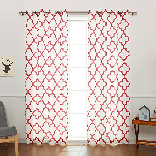 - Best Home Fashion Oxford Basketweave Reverse Moroccan Print Curtains - Stainless Steel Nickel Grommet Top - Cardinal Red - 52