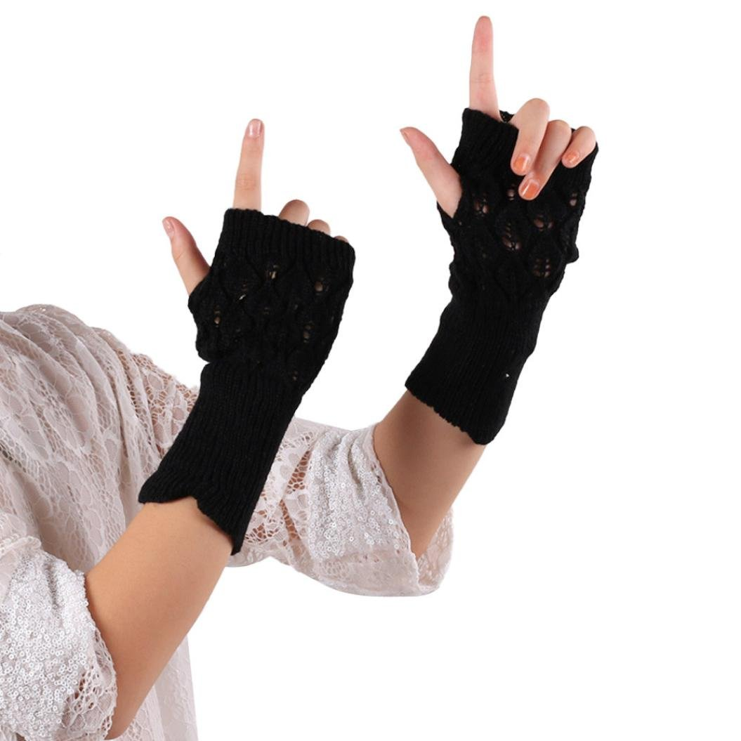 DZT1968/® Autumn Winter Women Girl Short Knit Fingerless Arm Warm Gloves Black