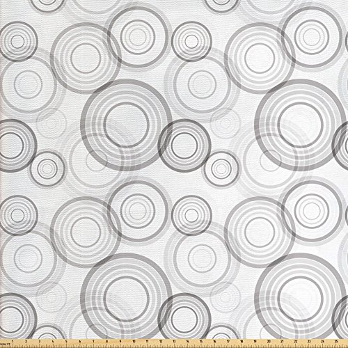 Lunarable Grey Fabric by The Yard, Ring Shapes Abstract Geometric Pattern Concentric Circles Contemporary Modern, Decorative Fabric for Upholstery and Home Accents, Grey and White