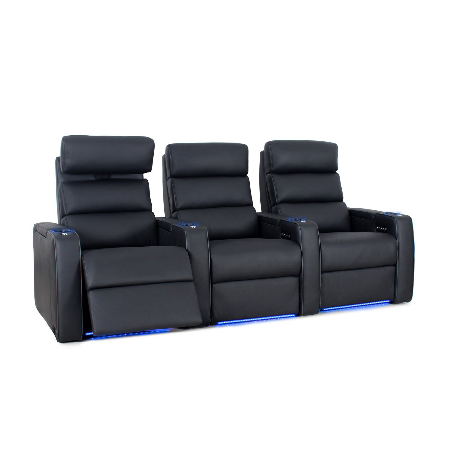 Octane Seating Dream HR Home Theatre Seating - Black Top Grain Leather - Power Recline - Lighted Cup Holders - Row of 3 Seats by Octane Seating