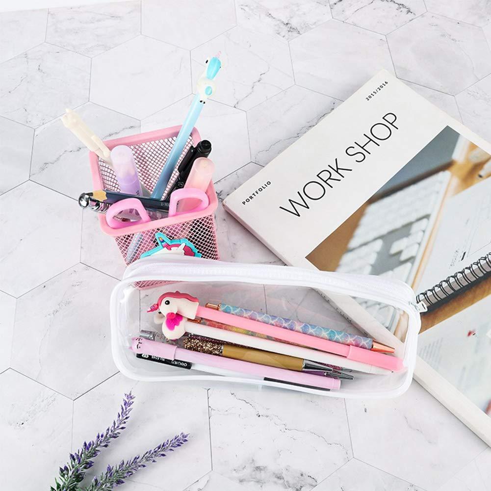 Astuccio per matita trasparente SUNSHINETEK Astuccio per matita trasparente per penna da 2 pacchi trasparente Custodia per trucco con cerniera in PVC di grande capacit/à bianca e nera