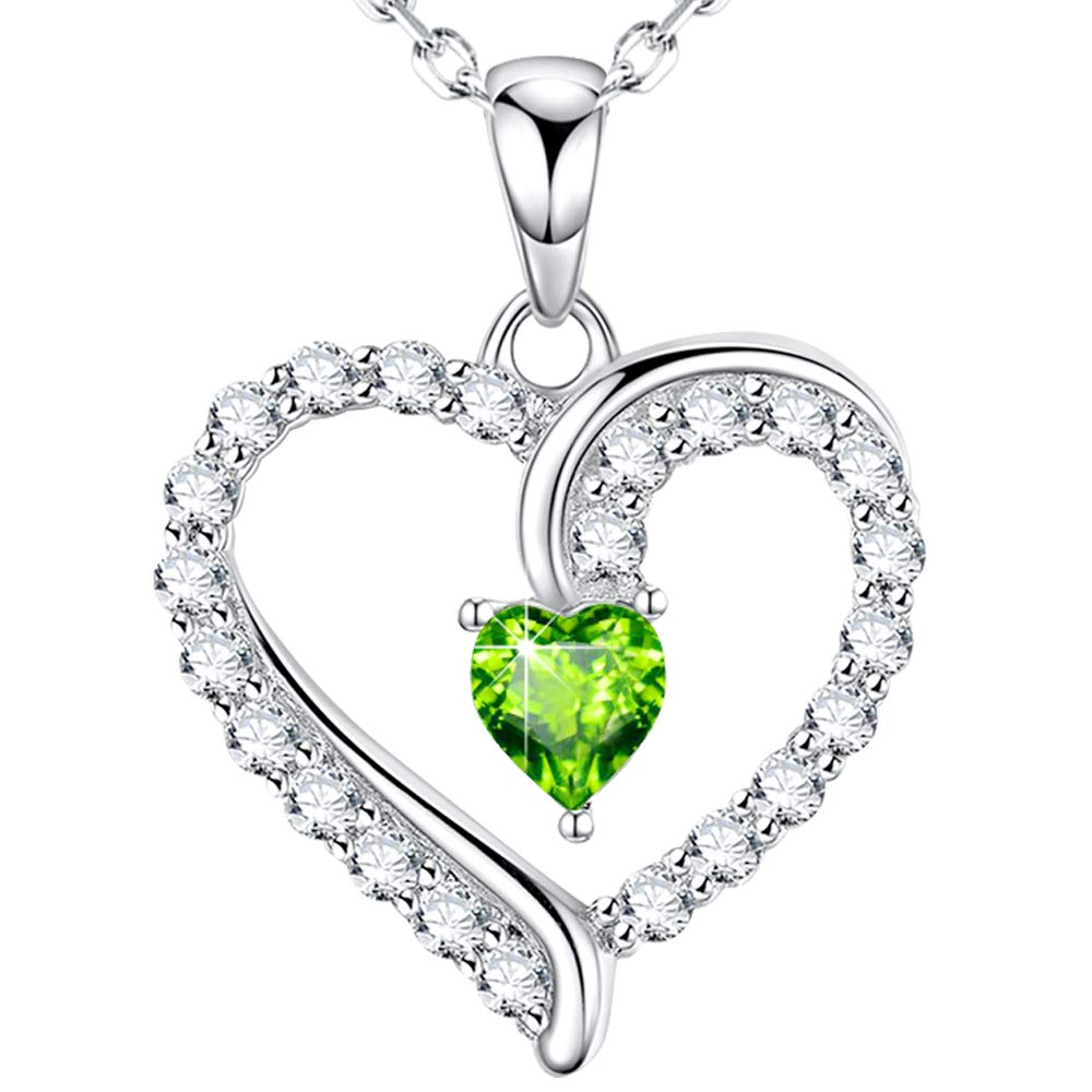 ❤️ You Are the Only One ❤️ Love Heart Pendant Necklace for Wife August Birthstone Green Peridot Fine Jewelry Birthday Anniversary Gifts for Women Her Girlfriend Daughter Swarovski Sterling Silver