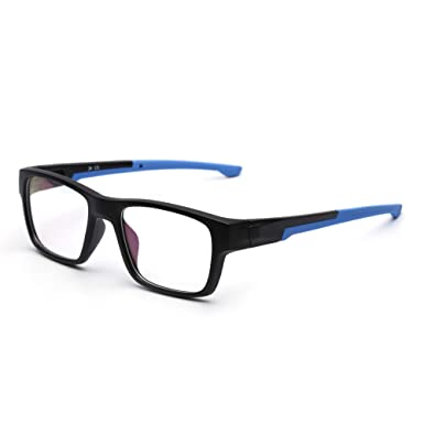 ab559f19c6e Rectangular Non-prescription Glasses Frame Classic Rx-able Eyeglasses Men  Women Black Frame Blue Temple  Amazon.co.uk  Clothing