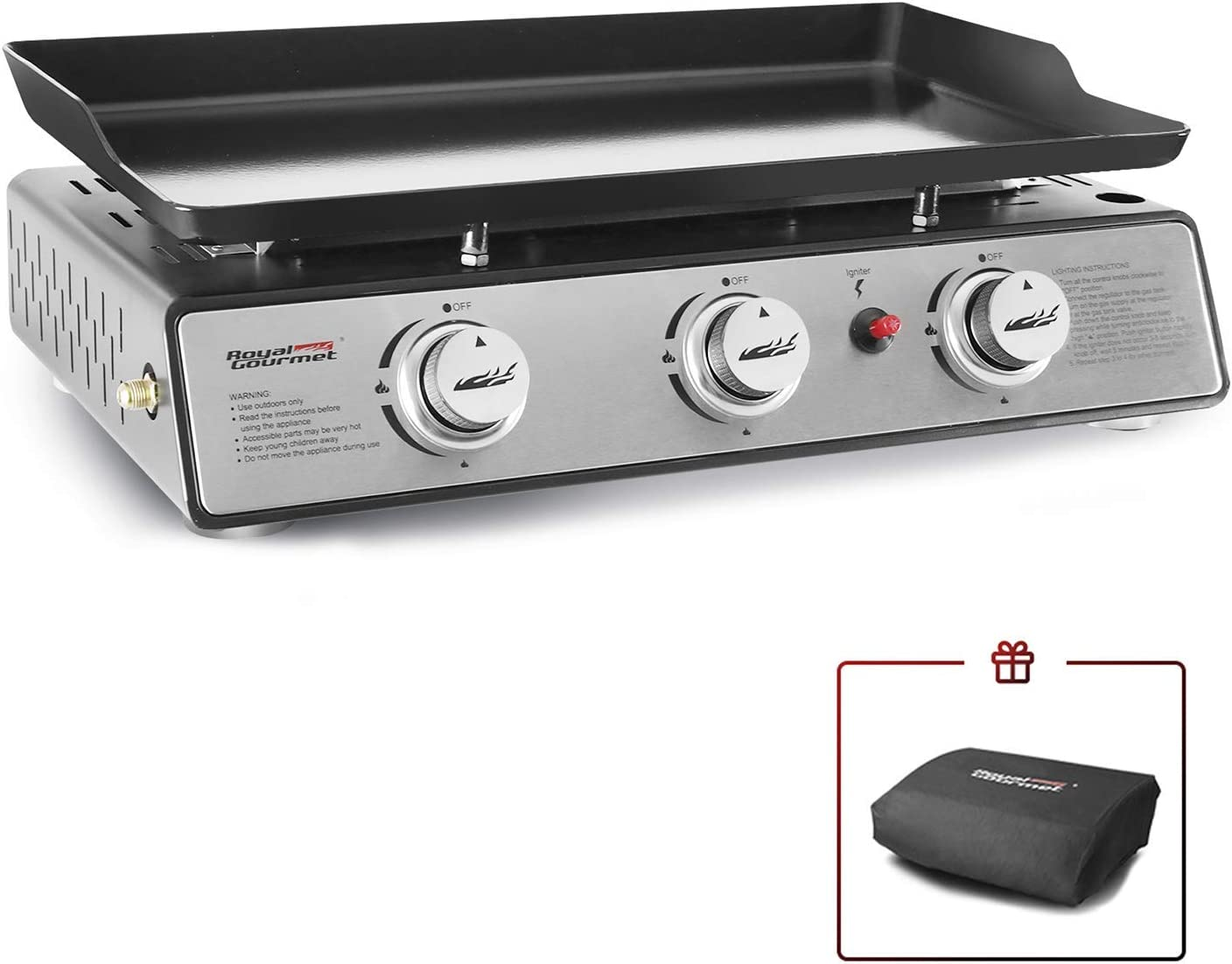 Royal Gourmet PD1301S 24-Inch 3-Burner Portable Table Top Gas Grill Griddle, 25,500 BTUs, Black