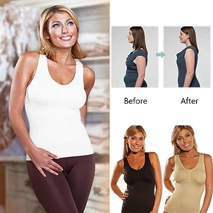 0e584777f4a82 Women s Seamless Genie Bra Firm Tummy Control Cami Shaper Body Shape Wear  Genie Bra Tummy Trimmer Tank Seamless Top Camishaper White (White