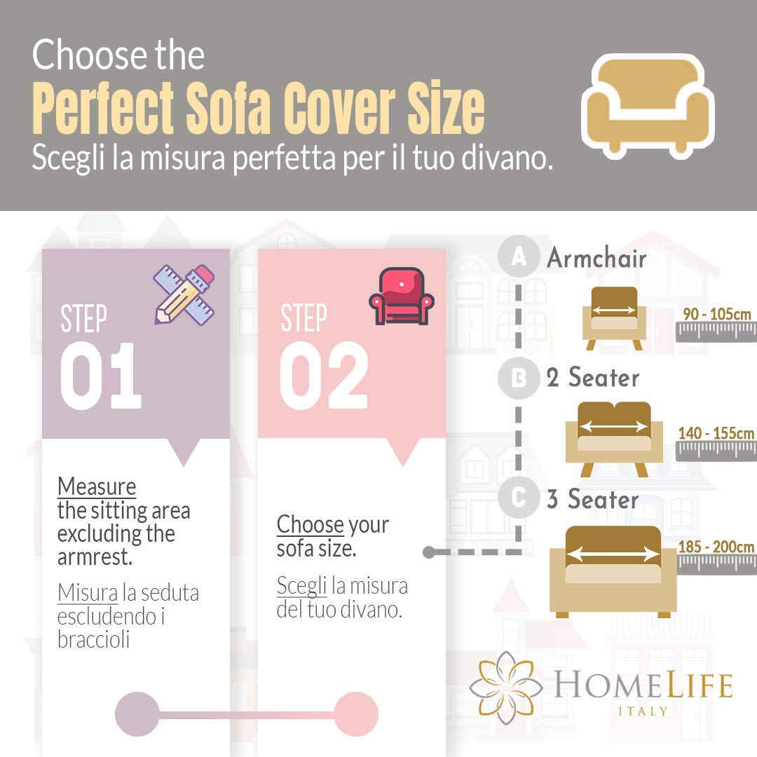 Cotton Cover for Sofa and Protection from Dust Elegant Sofa Cover with Floral Pattern Stains HomeLife Two or Three Seater Sofa Cover Made in Italy Dog and Cat Hairs Divano 2 Posti Beige//Grigio