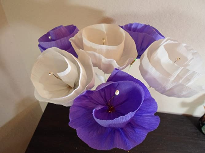 Amazon set of 6 mexican crepe paper flowers 3 white 3 purple set of 6 mexican crepe paper flowers 3 white 3 purple flowers mexican mightylinksfo
