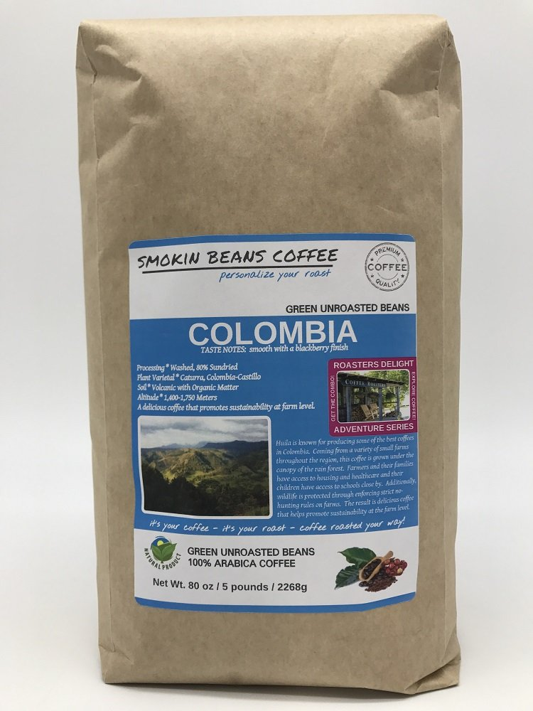 5-LBS COLOMBIA – ADVENTURE SERIES – Green Unroasted Coffee Beans – Specialty-Grade – FRESH-HARVEST – HUILA is known for Producing Best Coffee in Colombia – Sustainably Grown under Rainforest Canopy by Smokin Beans