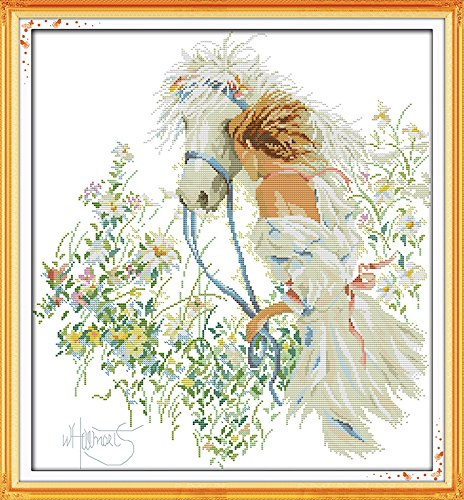 - Happy Forever Cross Stitch, figure, white horse and girl