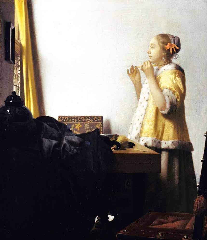 JH Lacrocon Johannes Vermeer - Mujer con Un Collar De Perlas Reproducción Cuadro sobre Lienzo Enrollado 75X90 cm - Humano Pinturas Impresións Decoración Muro