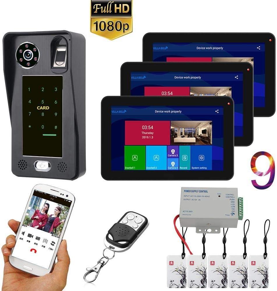 Videoportero DYWLQWifi Sistema de intercomunicador con timbre de 9 pulgadas, 3 monitores del sistema Android, cámara IR-CUT 1080P,grabaciónremota de aplicaciones, instantánea