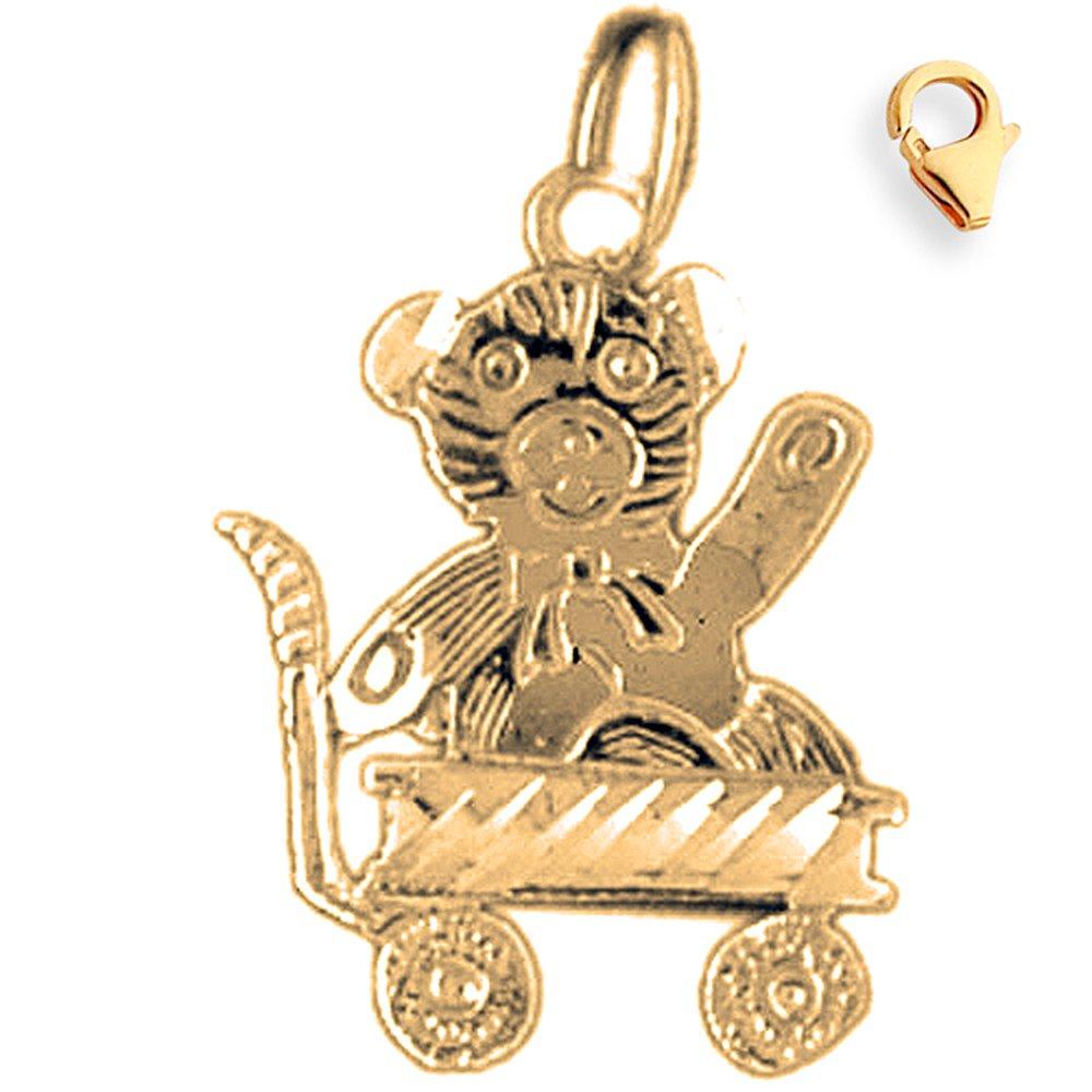 Silver Yellow Plated Teddy Bear Charm 22mm