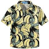 SSLR Big Boy's Banana Casual Short Sleeve Button Down Hawaiian Shirt (X-Large(18-20), Black)