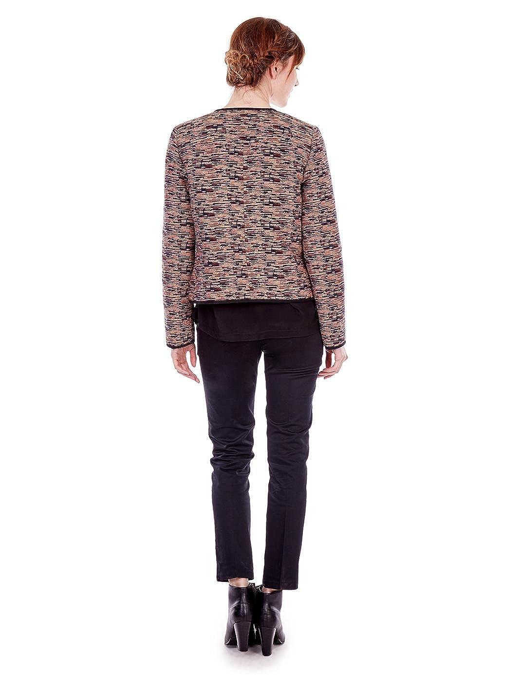 MONOPRIX FEMME - Veste courte sans col - Femme - Taille   36 - Couleur    GARANCE  Amazon.fr  Vêtements et accessoires 82632539906c