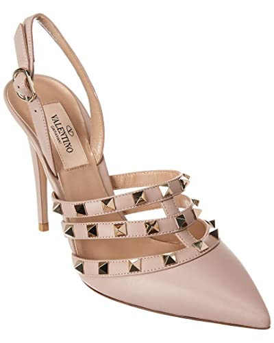 9d3398a834ee46 Amazon.com | VALENTINO Rockstud 100 Leather Slingback Pump, 38, Beige |  Pumps