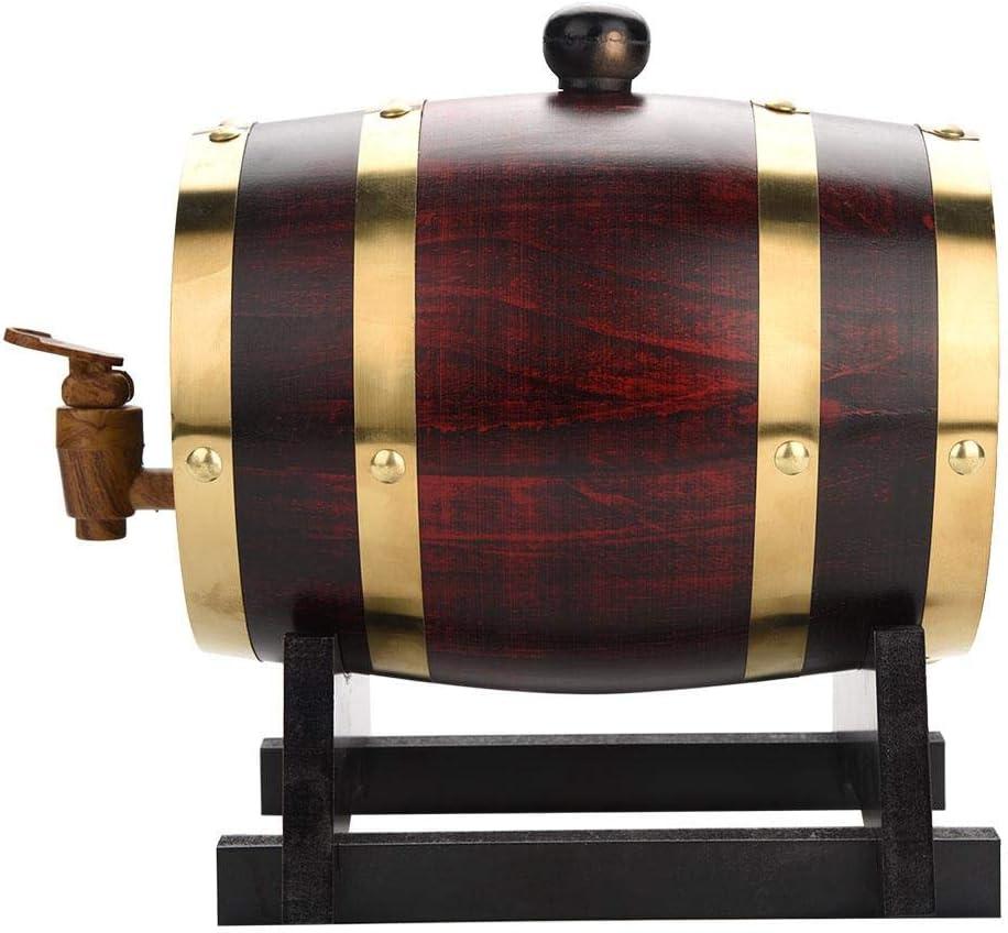 1.5L//3L//5L//10L Vintage Wood Oak Timber Wine Barrel,Oak Barrel Oak Stand for Beer Whiskey Wine Brandy Tequila Rum Port 1.5L