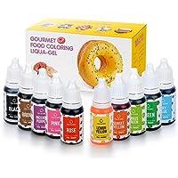 Lebensmittelfarben Flüssige Lebensmittel Farben Set Hochkonzentriert Food Coloring 10x10ml Lebensmittelfarben Flüssig Set für Kuchen Getränken Backen und Toppings