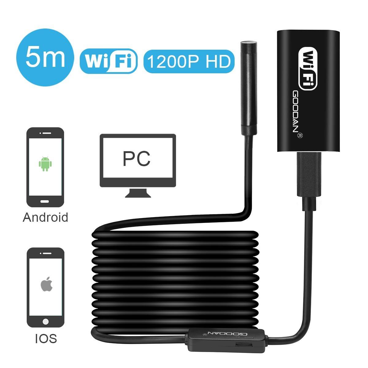 Amazon.com : Wireless Endoscope, GOODAN Updated 1200P WiFi Borescope ...